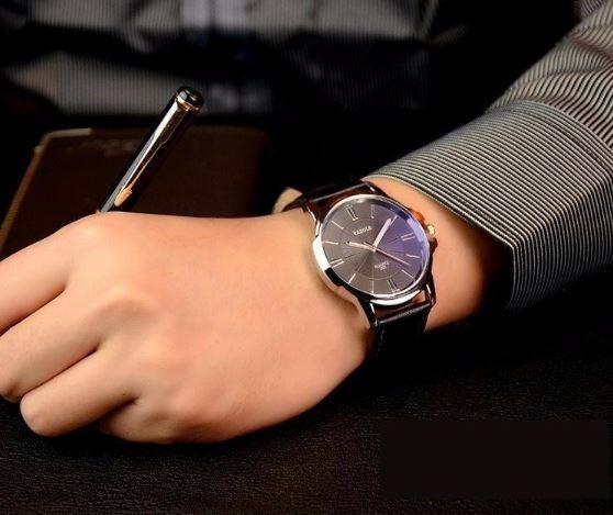 Relógio Yazole De Couro Preto Frete Grátis Elegante Vintage