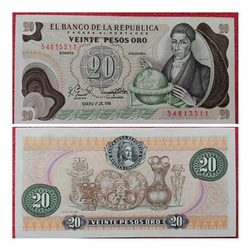 Imagen 1 de 1 de Billete De 20 Pesos Oro De 1.981.