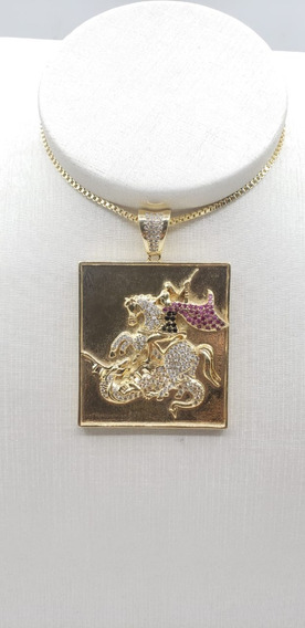 Medalha Orixá São Jorge Banhado A Ouro 18k Com Microzirconia