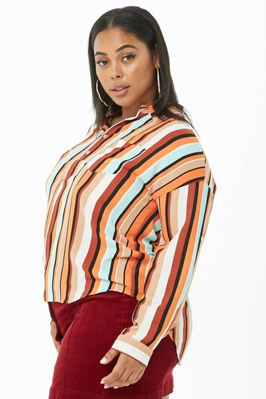 Camisa Rayada Colores Forever 21 Talle Especial 2x 3x