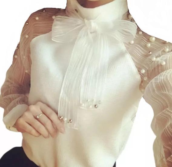 Camisa Blusa Moda Feminina Social Renda De Luxo Fretegratis