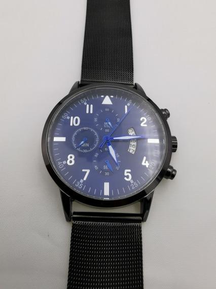 Reloj Original Cuena De Malla Metálica Moda Hombre Negro