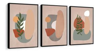 Quadros Decorativos Abstrato Formas Folhagem Tons Rose Cinza