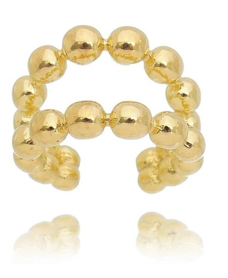 Piercing Pressão Fake Argola Dupla De Esferas Dourado