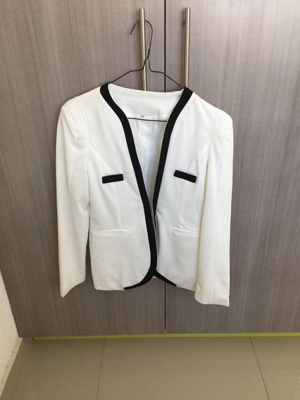 Saco Blanco Con Negro