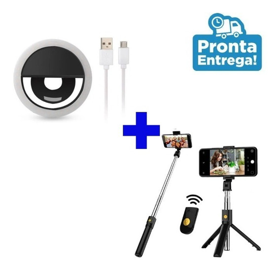Mini Tripé Profissional Pau De Selfie + Ring Ligth Celular