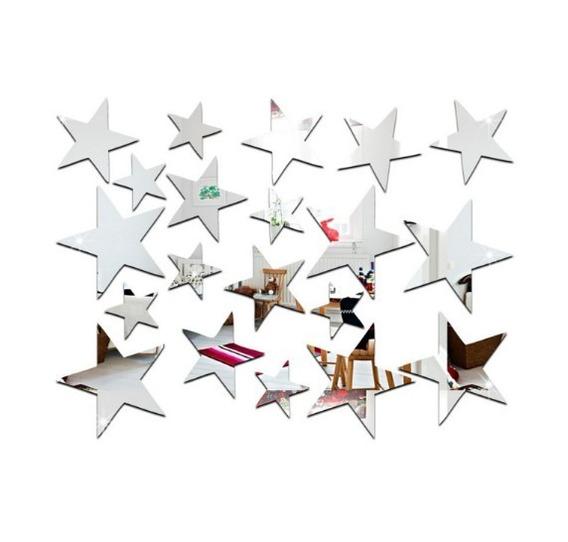 20 Estrelas Espelho Acrílico Decorativo Tamanhos Diferentes