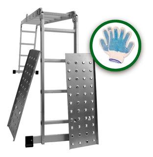 Guantes + Escalera Aluminio Articulada 4x4 Con Chapones 4.45