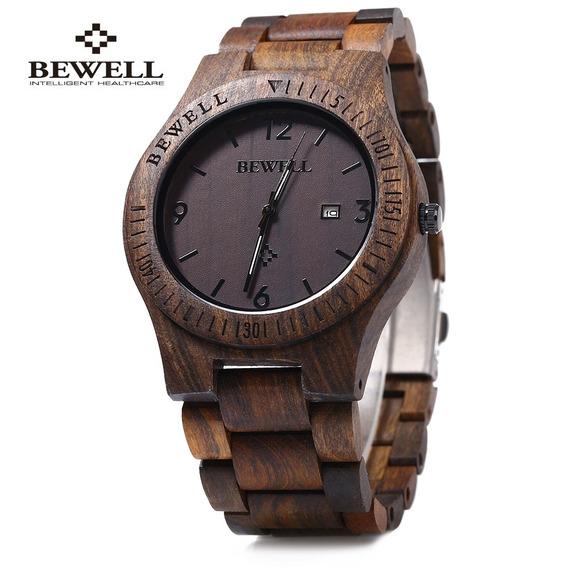Bewell Zs - W086b Madeira Homens Relógio Analógico Quartzo D