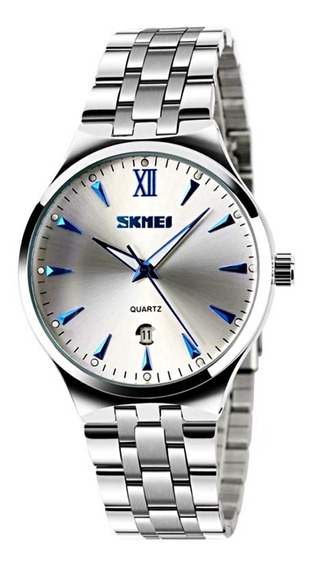 Relógio Masculino Pequeno Aço Inox Prata Com Calendario