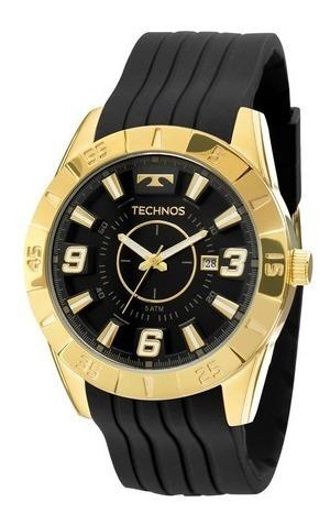 Relógio Masculino Technos Dourado Pulseira Silicone