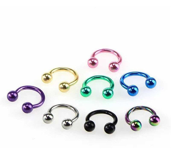 Set De 8 Piercings Arete Nariz Septum Multicolor
