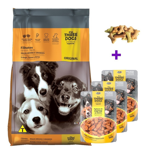 Imagen 1 de 5 de Three Dogs Cachorro Mediana Grande 15kg Mas Regalo Y Envio