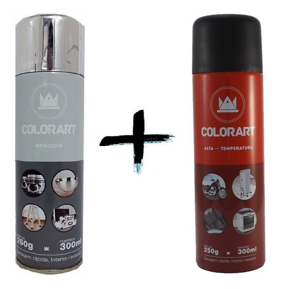 Kit Tinta Spray Alta Temperatura Cromado Metalico Colorart