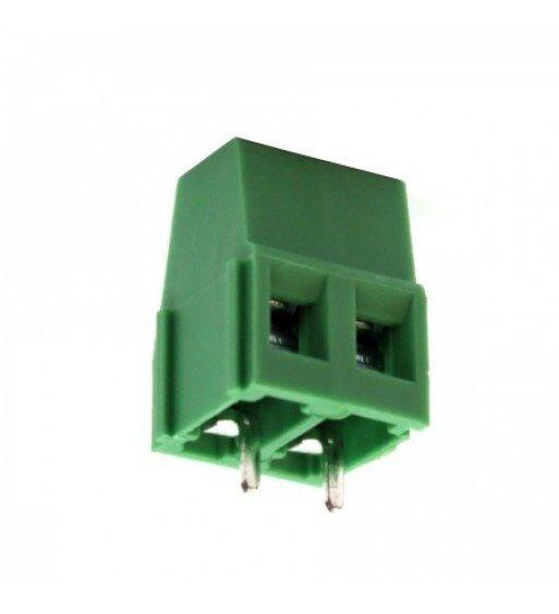 Conector Borne 2 Vias Pci Passo 5,08mm 180° Verde C/100pçs