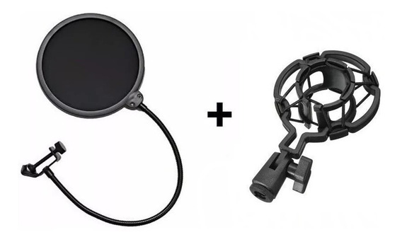 Pop Filter + Shock Mount Kit Para Microfone Pronta Entrega!