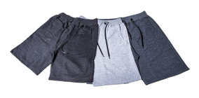 Kit 3 Bermuda Short Masculino Moletinho Academia Esporte