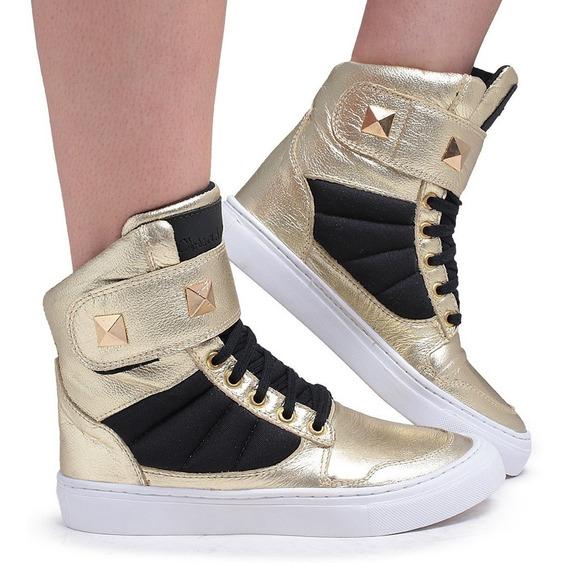 Tênis Cano Alto Sneakers Feminino Academia Couro Cofortável