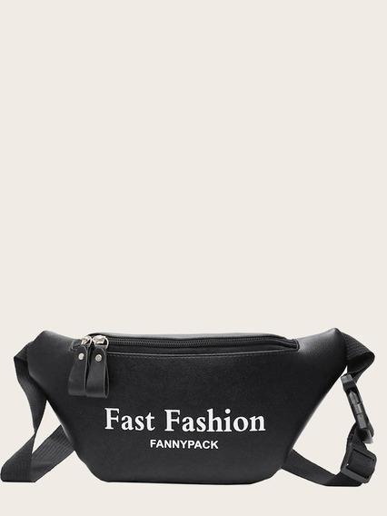 Cangurera Casual Negra Fashion Estampado Mujer Casual