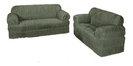 10 Kit Capa Para Sofa De 2 E 3 Lugares + 10 Cortina 2 Metros