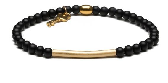 Abel Gold - Black  Pulseira De Pedra Ágata   Key Design