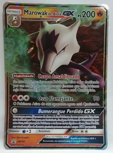 Carta Gigante Pokémon Marowak De Alola Gx ( Sm187 ) Promo