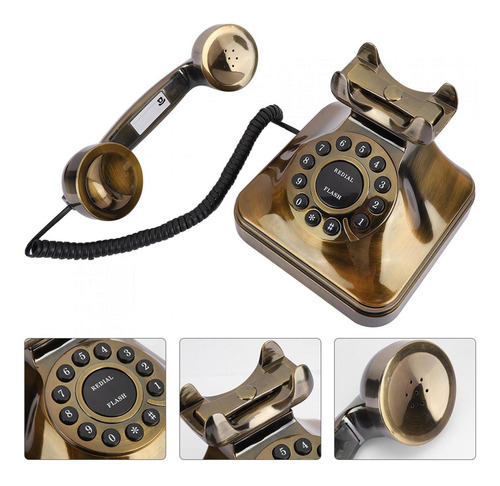 Wx-3011 Retro Escritorio Teléfono Con Cable Vintage Teléfono