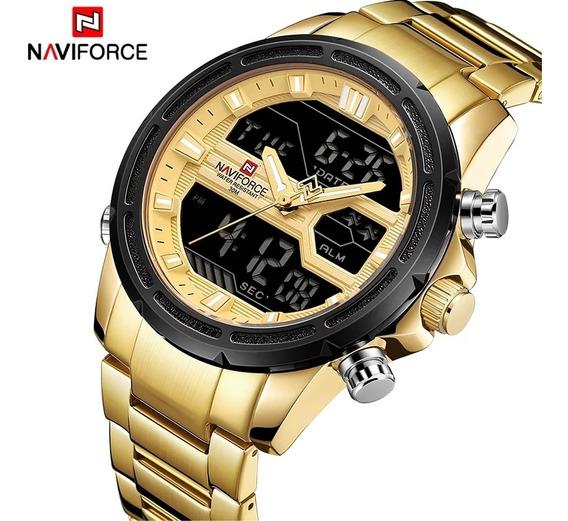 Relógio Naviforce Dourado - Digital E Analógico - Detalhes: