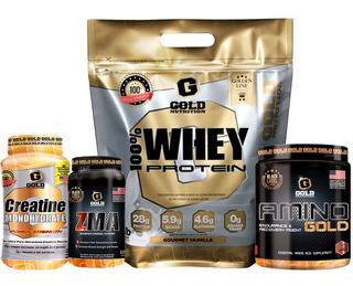 Whey Protein 5lb + Amino Gold + Creatina + Zma Gold Nutrition