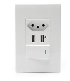 Tomada Com Interruptor Com 2 Entradas Usb 5v 2.1a