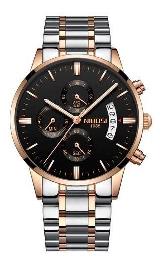 Relógio Masculino Nibosi 2309-1-2 Original 30m Dourado/prata
