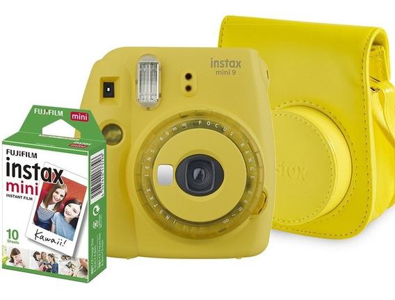 Kit Instax Mini 9 Camera + Bolsa + 10 Filmes Amarelo Banana