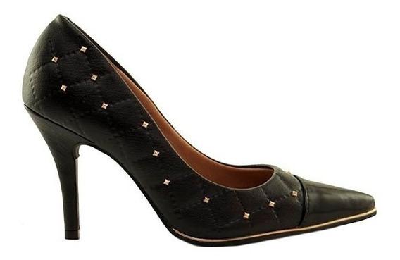 Zapatos Stilletos Mujer Cuero Ecológico Negro Puntera Charol Tachas Vizzano