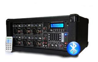 Consola Mixer Potenciada 6 Canales Con Bluetooth Usb Control Remoto 150w Rms Amplificador
