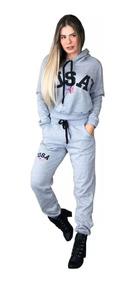2 Conjunto Moletom Usa Feminino Inverno U.s.a Com Touca Moda