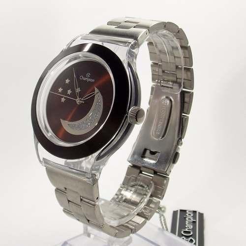 Relógio Feminino Champion Cp20040r Transparente Marrom Aço