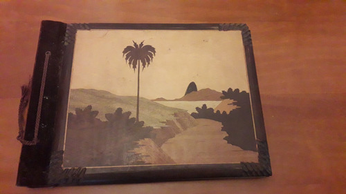 Album De Fotos Antigo Com Encadernação Em Madeira E Veludo