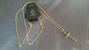Corrente Masculina Cartier 70cm Com Cruz Banhada Ouro 18k