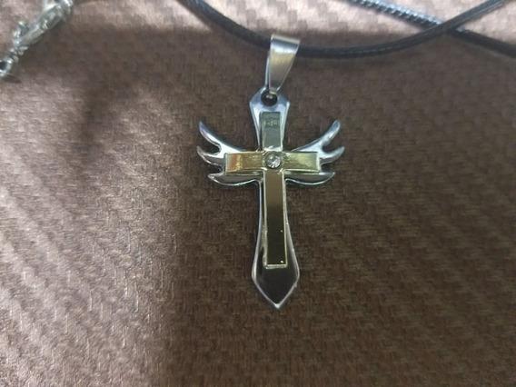 Conj Colar Couro + Crucifixo Prateado E Dourado