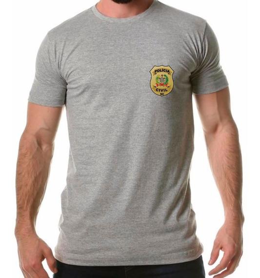 Camisa Masculina Polícia Civil Santa Catarina Sc Distintivo