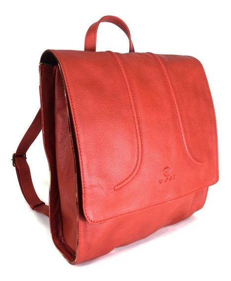Back Pack Para Dama 100% Piel Color Rojo