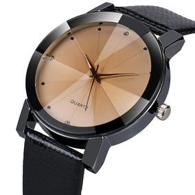 Relógio Quartz Bronze Pulseira De Couro P.u. Preta