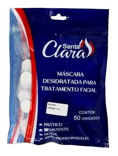 Máscara Desidratada Santa Clara Limpeza Facial Pacote 50 Un.