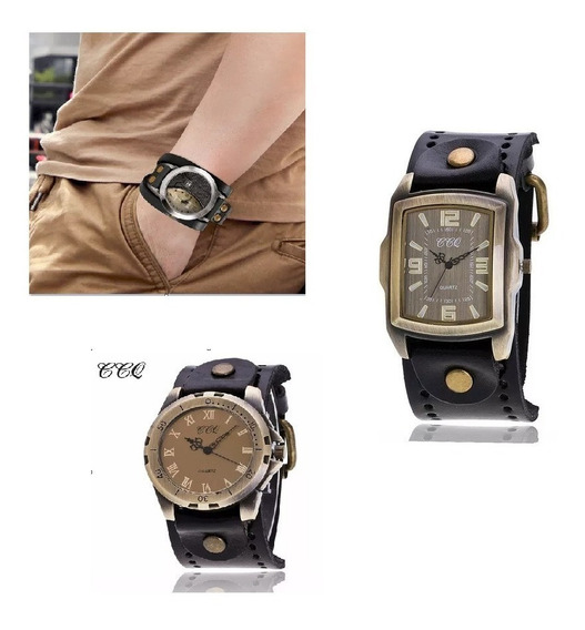 Relógio Pulseira Couro Masculino Vintage Ccq Pct Com 3 Unds