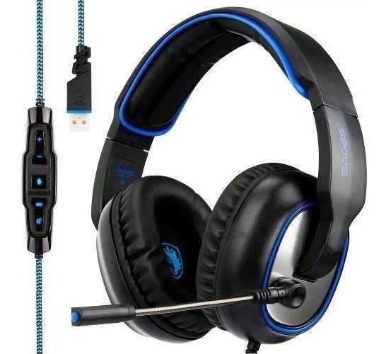 Fone De Ouvido Headset Gamer Usb 7.1 Microfone Sades R7 F17