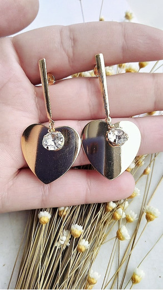 Brinco Coração Pedra Feminino Dourado Banhado Folheado Ouro