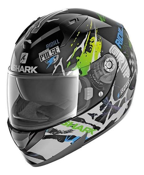 Capacete para moto integral Shark Ridill Drift-R black, green, blue tamanho M