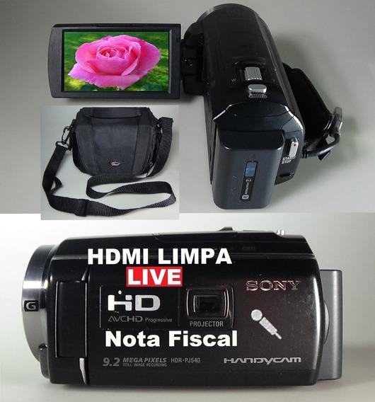Filmadora Sony Hdr-pj540 Entrada Microfone Hdmi Limpa Live