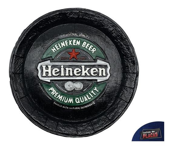 Placa Heineken Tampa De Barril Em Gesso