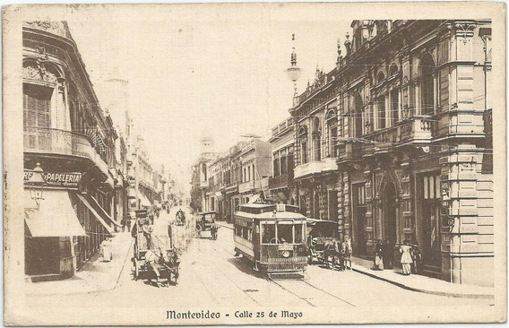 Antigua Postal De 1915, Calle 25 De Mayo Montevideo, Uruguay